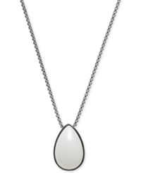 Skagen Silver Tone Sea Glass Short Pendant Necklace