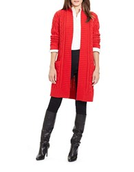 Lauren Ralph Lauren Cable Knit Open Front Cardigan Red