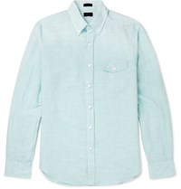 J.Crew Slim Fit Button Down Collar Pinstriped Linen And Cotton Blend Shirt Green