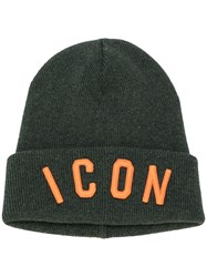 Dsquared2 Icon Embroidered Beanie Hat Men Virgin Wool One Size Green