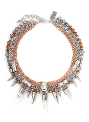 Amanda Mounser 'Eno' Mineral Crystal Spike Curb Chain Collar Necklace Metallic