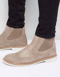 Tommy Hilfiger Metro Suede Brogue Chelsea Boots Stone