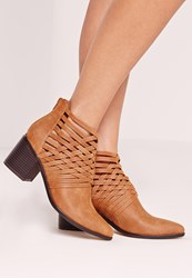 Missguided Woven Detail Pointed Toe Ankle Boot Tan Brown