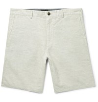 Club Monaco Maddox Puppytooth Linen And Cotton Blend Shorts Neutrals