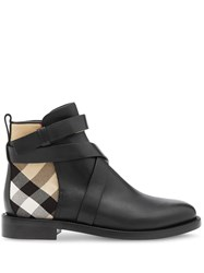 Burberry House Check And Leather Ankle Boots 60