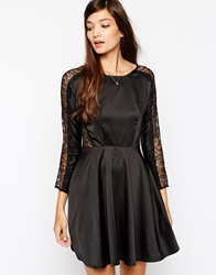 Paisie Skater Dress With Lace Panel Black