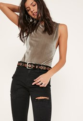 Missguided Black Embroidered Belt