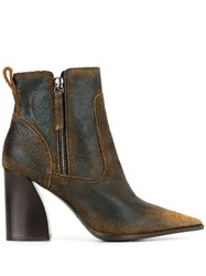 Premiata Distressed Ankle Boots Brown