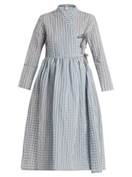 Shrimps Hermione Gingham Wrap Dress Blue