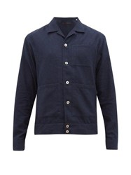 The Gigi Houndstooth Cotton Flannel Overshirt Navy