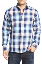Men's Toscano Regular Fit Plaid Linen Sport Shirt