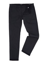 Replay Men's Tapered Fit Stretch Dobby Trousers Black And Grey Black And Grey