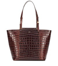 Max Mara Croc Effect Leather Shopper Brown