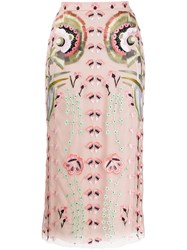 Temperley London Fitted Embroidered Floral Silk Skirt 60