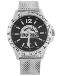 Game Time Colorado Rockies Cage Series Watch Silver Black