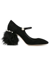 Miu Miu Feather Heel Pumps Black