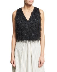 Brunello Cucinelli Sleeveless Fringe V Neck Cropped Top Black