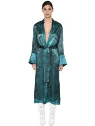 F.R.S. For Restless Sleepers Long Printed Cupro And Viscose Dust Coat Blue