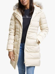 Calvin Klein Jeans Hooded Long Down Coat Bleached Sand