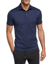 Ermenegildo Zegna Zigzag Melange Cotton Polo Shirt Dark Blue