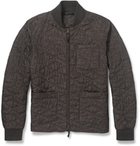 Incotex Montedoro Printed Quilted Bomber Jacket Brown