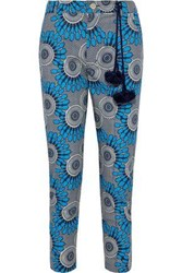 Figue Woman Zulu Cropped Printed Cotton Voile Slim Leg Pants Azure