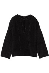 Tom Ford Oversized Leather Paneled Angora Blend Top Black