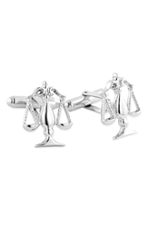 David Donahue 'Scales Of Justice' Cuff Links Silver Legal