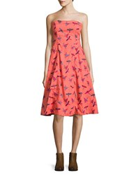 Free People Printed Strapless Dress Red Combination