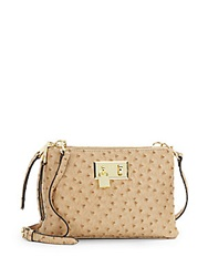 London Fog Ostrich Embossed Faux Leather Mini Crossbody Sand