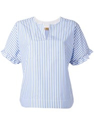 Fay Striped Ruffle Trim Blouse Blue