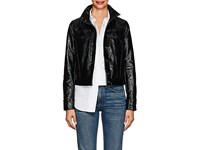 Lisa Perry Snazzy Coated Cotton Blend Trucker Jacket Black