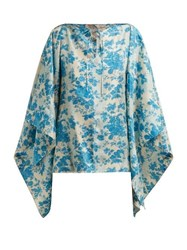 By Walid Camilla Floral Print Silk Blouse Blue Print