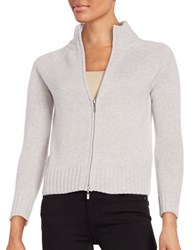 Lord And Taylor Petite Cashmere Zip Front Cardigan Grey