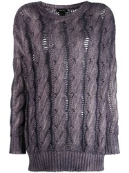 Avant Toi Cashmere Cable Knit Sweater Purple