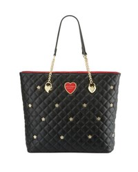 Betsey Johnson Quilted Flower Stud Chain Shopper Tote Bag Black