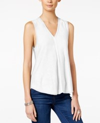 Armani Exchange Sleeveless V Neck Top Solid White