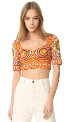 Moschino Printed Crop Top Fantasy Print Red