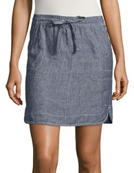 Lord And Taylor Petite Cross Dyed Linen Skirt Blue