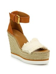 See By Chloe Glyn Leather And Frayed Canvas Espadrille Wedge Platform Sandals Tan Denim