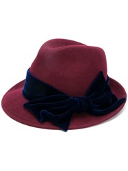Ca4la Side Bow Embellished Hat Red