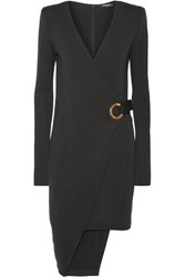 Balmain Asymmetric Wool Wrap Mini Dress Black