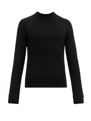 Prada Ribbed Knit Alpaca Sweater Black