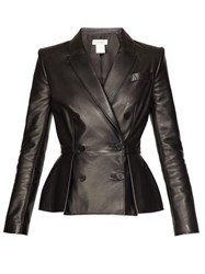 Alexander Mcqueen Pleat Front Double Breasted Leather Jacket Black