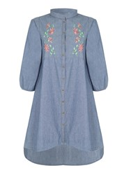 Yumi Floral Denim Dress Blue