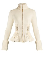 Alexander Mcqueen Lace Up Side Wool Knit Cardigan Ivory