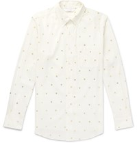 Sasquatchfabrix. Button Down Collar Metallic Printed Cotton Shirt White