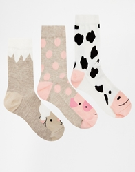 Asos 3 Pack Socks Farm Animal Print