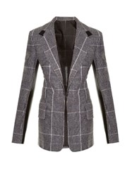 Calvin Klein Leather Trim Checked Wool Blazer Grey Multi
