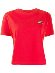 Tommy Jeans Logo Short Sleeve T Shirt Red